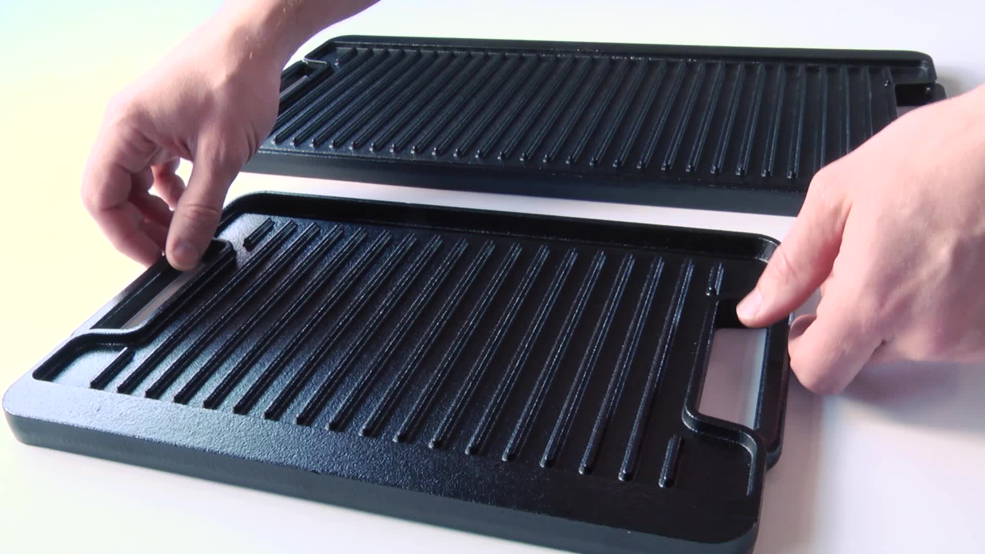 Artisanal Kitchen Supply PreSeasoned Cast Iron Double Burner Grill
