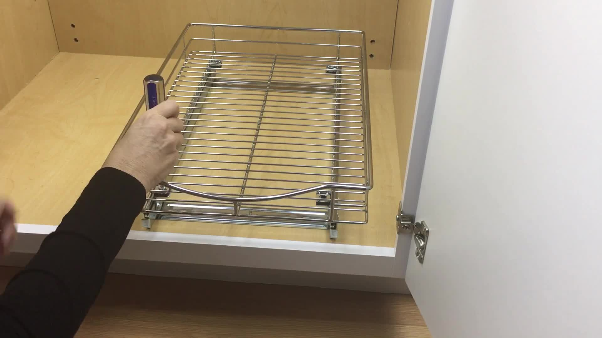 Watch The Video For Lynk Professional Wide Roll Out 11 Inch Under Cabinet  Sliding Shelf