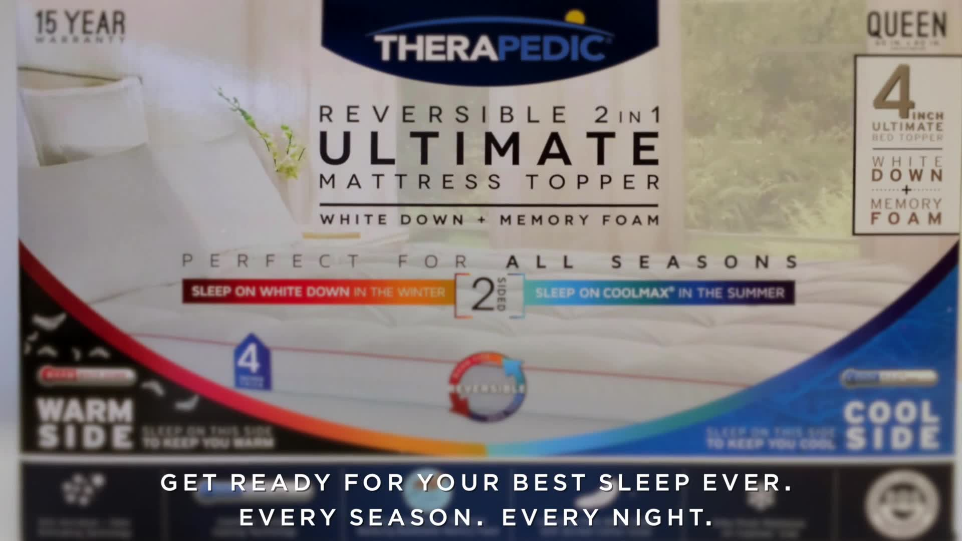 Therapedic 4 Inch Dual Season Mattress Topper in White Bed Bath