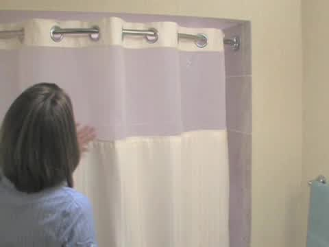 Watch The Video For Hooklessreg Waffle Fabric Shower Curtain