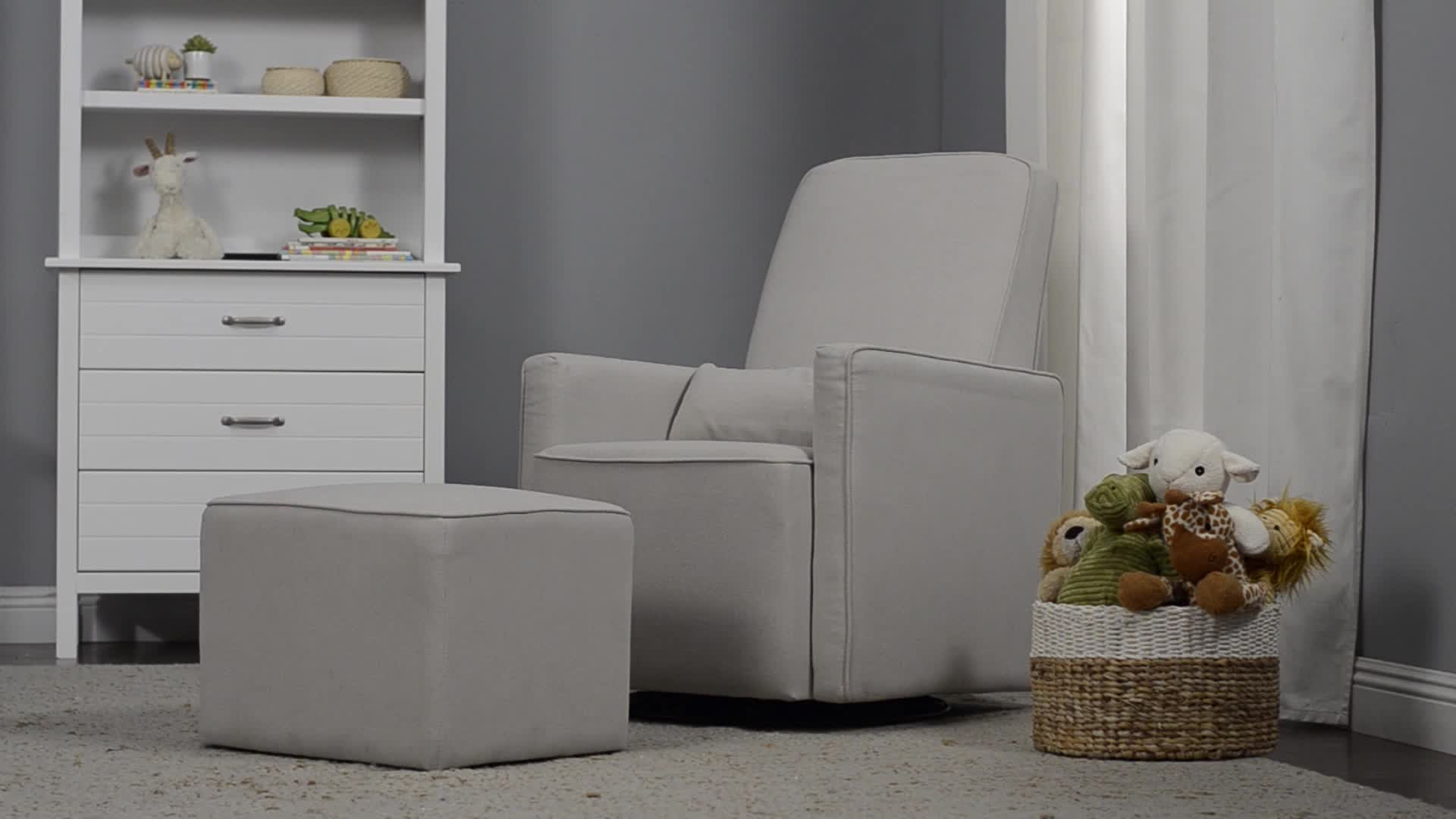 Watch The Video For DaVinci Olive Upholstered Swivel Glider And Ottoman In  Grey With Cream Piping