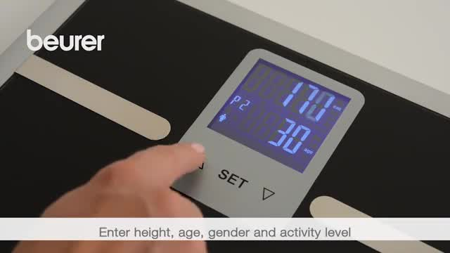 Beurer Glass Body Analysis Bathroom Scale with Large 2-Line LCD Display