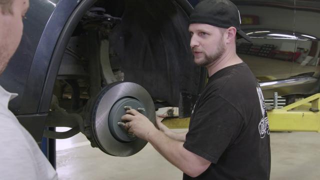 Gas Monkey Garage Changing Brake Pads | Advance Auto Parts Gas Monkey Garage's Jeremy Cheatham puts new pads and rotors on his vehicle with the help of Advance Auto employee Shawn Jones and Richard Rawlings.