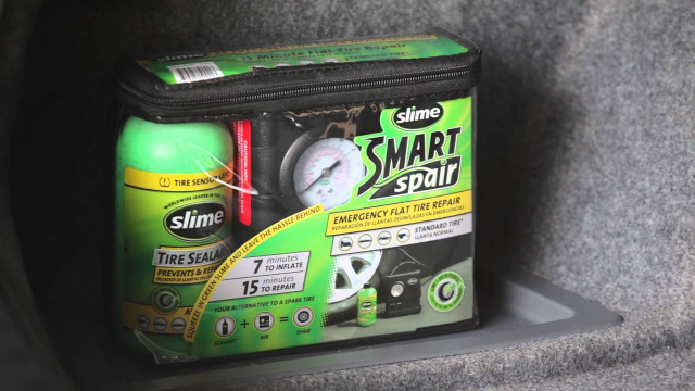 Slime Smart Spair/Smart Repair Emergency Flat Tire Repair  The Smart Spair Kit combines Slime sealant and a Slime inflator, allowing you to repair and inflate a flat tire in minutes!