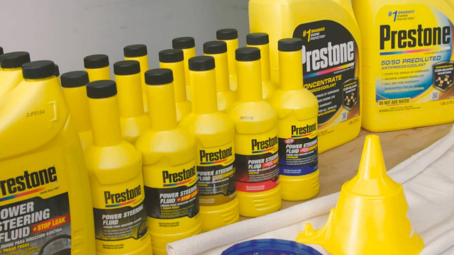 Prestone® How to Change Your Power Steering Fluid Power steering fluid is a vital component of your vehicle and should be changed regularly to keep your car or truck running worry free. Power steering fluid can be changed safely and easily in as little as 5 minutes per year with the method shown!  Prestone's full line of products include full synthetic American, European, and Asian power steering fluids to meet the demands of today's high tech cars and trucks as well as power steering fluid plus stop leak to rejuvenate seals and stop leaks. Power steering fluid should be changed every 3-5 years or 30,000 to 60,000 miles.  Using full Prestone synthetic fluid extends fluid life.