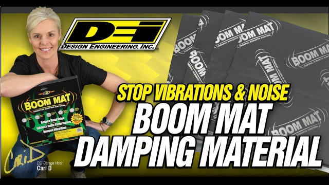 Boom Mat Damping Material from Design Engineering, Inc. Boom Mat Vibration Damping Material is a premium quality damping material providing extreme noise damping for the most demanding commercial and sound competition applications. Interior panels vibrate and generate noise. Boom Mat stops that noise by trapping it between our thick, 4 mil aluminum stiffening top skin and the asphalt free, pure butyl, noise constraining layer.  Plus worry-free no snag adhesion to any interior surface, vertical or overhead, even in the most demanding of temperature extremes. Those quality components are what makes Boom Mat Vibration Damping Material require only 25-50% coverage to get the job done. This saves weight, material cost and installation time.