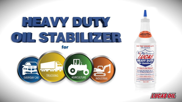 Lucas Heavy Duty Oil Stabilizer A pure petroleum multi-use oil supplement. Controls noise, heat and wear in manual transmissions and differentials. Number one in the heavy duty and high performance industries.  Lucas Oil Stabilizer is a 100% petroleum product formulated to eliminate dry starts and reduce friction, heat and wear in any type of engine. It allows motor oils a higher degree of lubricity which reduces oil consumption and operating temperatures. Use Lucas Oil Stabilizer in gear oil to stop leaks, reduce operating temperatures and increase the life of the gear oil. Since it is pure petroleum, it can safely blend with all other automotive lubricants, even synthetics, ATF and mineral oil. It keeps old engines alive and new engines new.