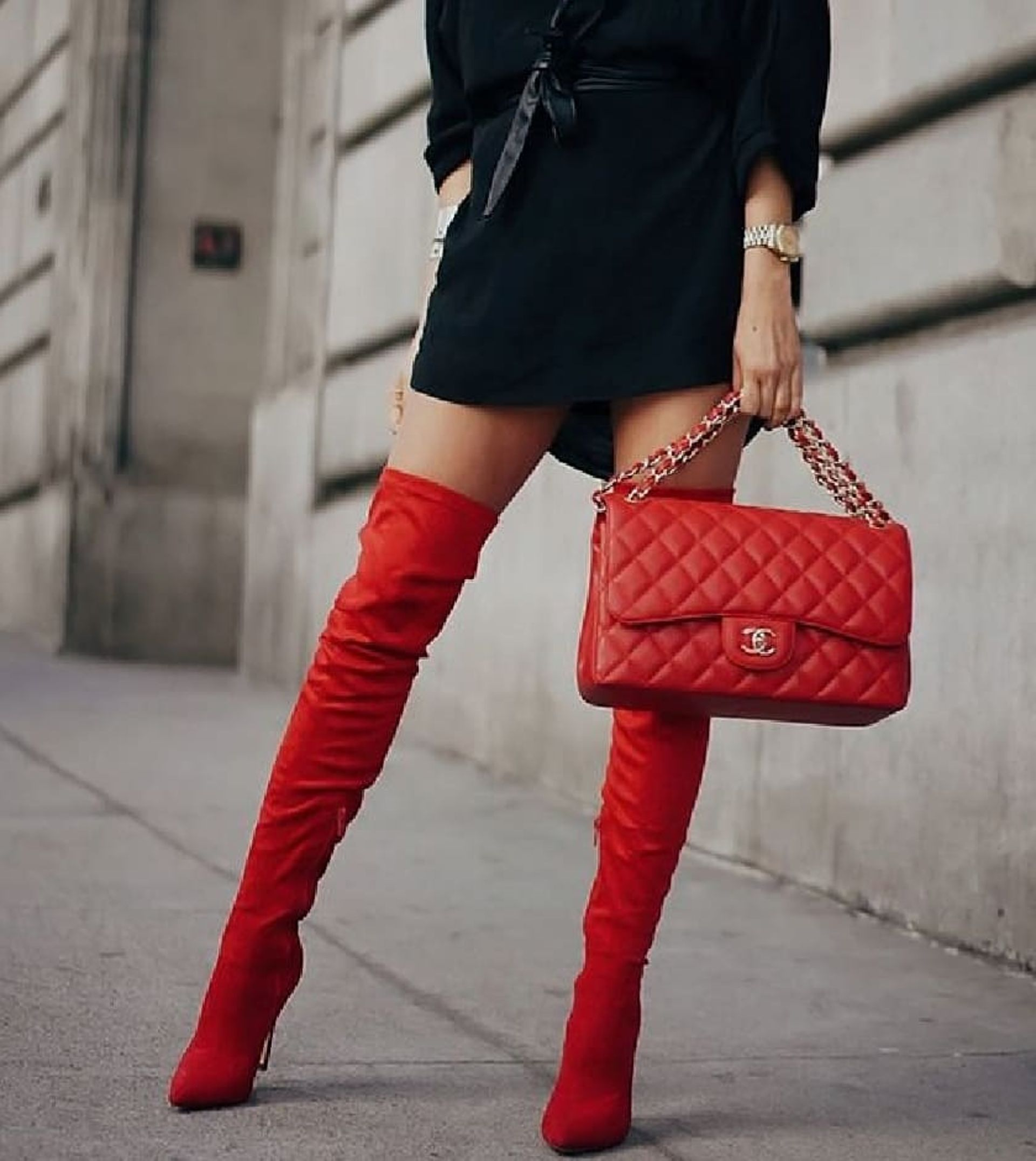 RED THIGH HIGH BOOTS - Macys Style Crew