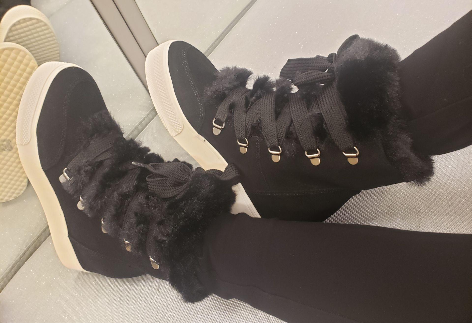 Wharton faux-fur wedge sneakers